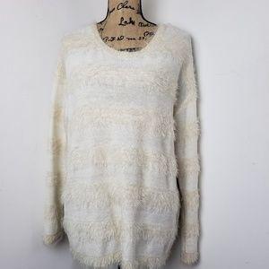 Joseph A. Cream Striped Eyelash Sweater